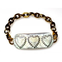 White Chocolate Patina Brass Heart Rockband Bracelet