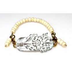White Chocolate Patina Brass Charmed Floral Rockband Bracelet
