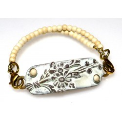 White Chocolate Patina Brass Floral Rockband Bracelet
