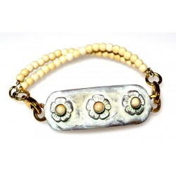 White Chocolate Patina Brass Delicate Flowers Rockband Bracelet