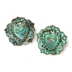 Verdigris Patina Solid Brass Heart Earrings