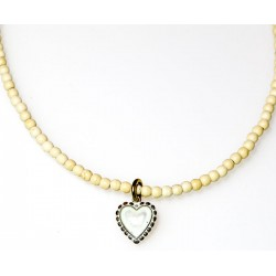 White Chocolate Patina Brass Heart Necklace on White Turquoise Beading