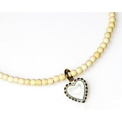 White Chocolate Patina Brass Heart Charm Bracelet on White Turquoise Beading