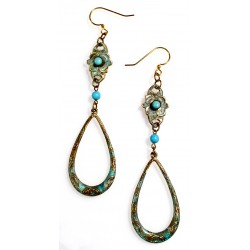 Verdigris Patina Brass Floral Dangle Earrings