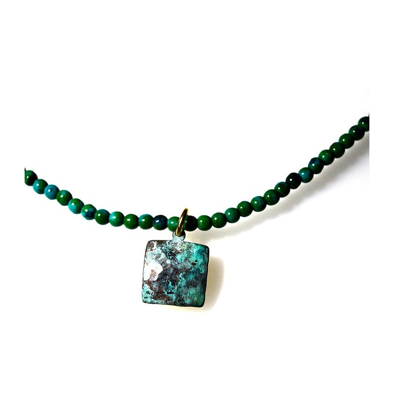 Verdigris Patina Hand Forged Brass Dimpled Necklace
