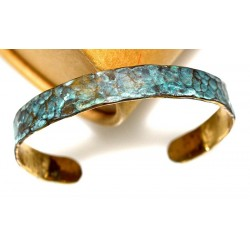 Verdigris Patina Hand Forged Brass Dimpled Cuff