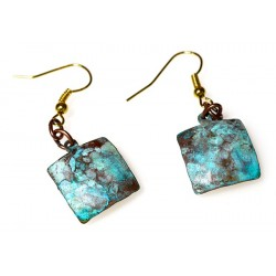 Verdigris Patina Hand Forged Brass Dimpled Square Earrings
