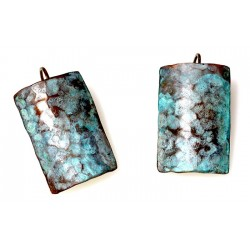 Verdigris Patina Hand Forged Brass Dimpled Barrel Shaped Earrings