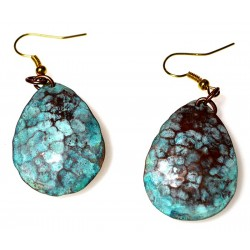 Verdigris Patina Hand Forged Brass Dimpled Teardrop Earrings