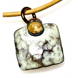 White Chocolate Patina Hand Forged Brass Dimpled Pendant
