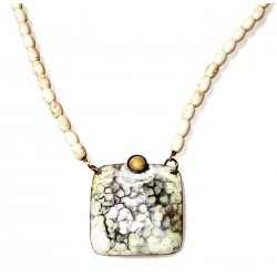 White Chocolate Patina Hand Forged Brass Dimpled Necklace - White Turquoise Rice Beading