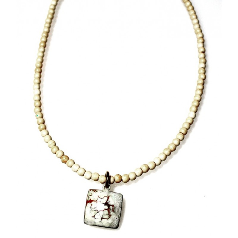White Chocolate Patina Hand Forged Brass Dimpled Necklace - White Turquoise