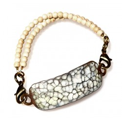 White Chocolate Patina Hand Forged Brass Dimpled Rockband Bracelet - White Turquoise