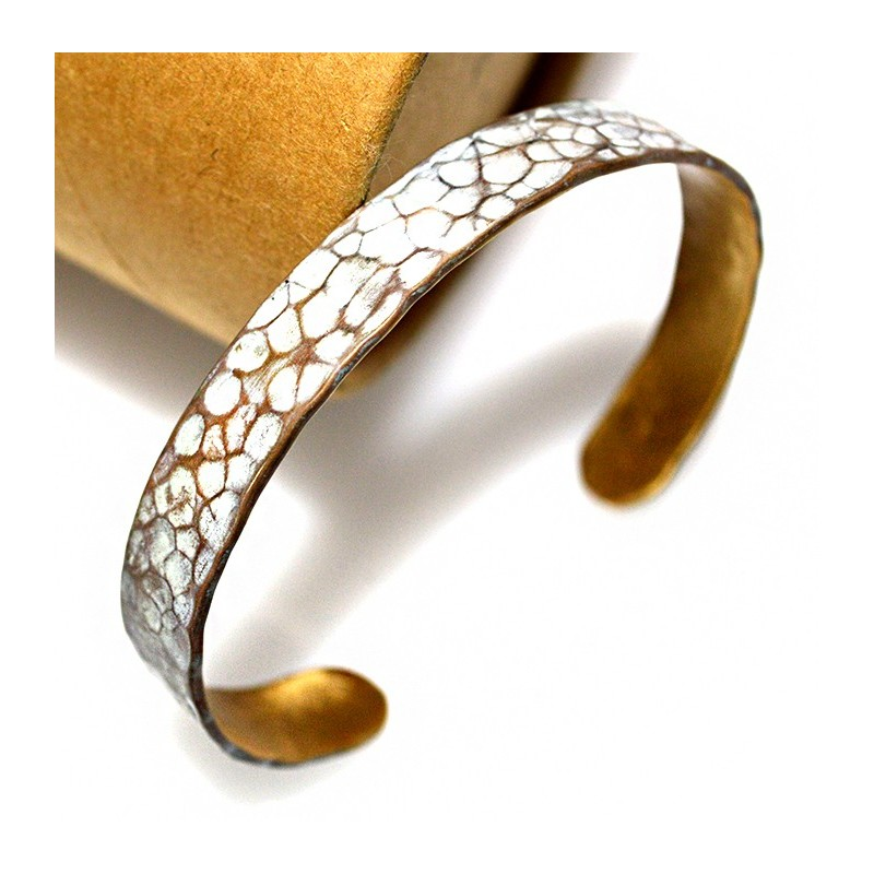 White Chocolate Patina Hand Forged Brass Dimpled Cuff