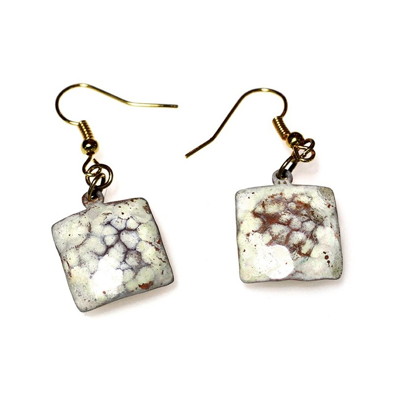 White Chocolate Patina Hand Forged Brass Dimpled Square Earrings