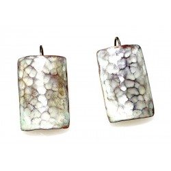 White Chocolate Patina Hand Forged Brass Dimpled Barrel Shaped Earrings