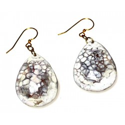 White Chocolate Patina Hand Forged Brass Dimpled Teardrop Earrings