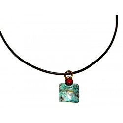 Verdigris Patina Hand Forged Brass Dimpled Pendant