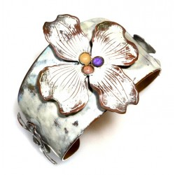 White Chocolate Patina Brass Dogwood Flowers Cuff