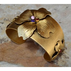 Antique Gold Dogwood Cuff Bracelet