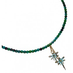 Verdigris Patina Lost Wax Cast Brass Delicate Dragonflies Necklace - Chrysocolla