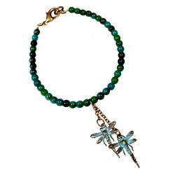 Verdigris Patina Solid Brass Lost Wax Cast Dragonflies Charm Bracelet - Chrysocolla