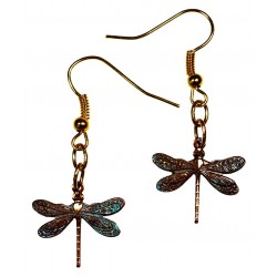 Verdigris Patina Solid Brass Delicate Dragonfly Dangle Earrings