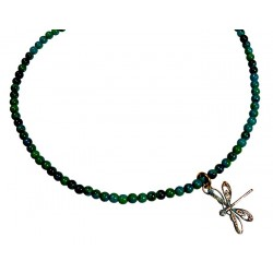 Verdigris Patina Solid Brass Delicate Dragonfly Necklace - Chrysocolla