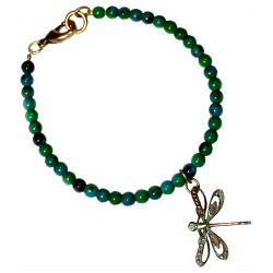 Verdigris Patina Solid Brass Delicate Dragonfly Charm Bracelet - Chrysocolla