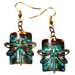 Verdigris Patina Solid Brass Dragonfly on Rectangle Dangle Earrings