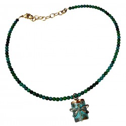 Verdigris Patina Solid Brass Dragonfly On Rectangle Necklace