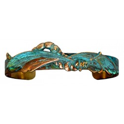 Verdigris Patina Solid Brass Flowing Art Nouveau Dragonfly Skinny Cuff Bracelet