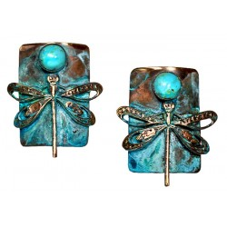 Verdigris Patina Solid Brass Dragonfly on Rectangle Earrings