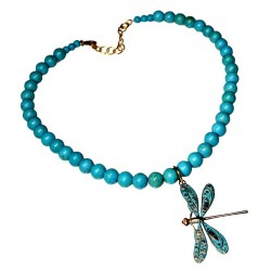 Verdigris Patina Solid Brass Decorative Dragonfly Necklace - Turquoise