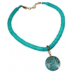 Verdigris Patina Solid Brass Dragonflies on Domed Circle Necklace - Turquoise