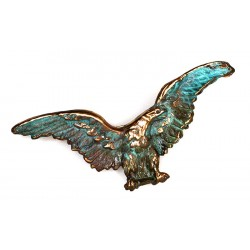 Verdigris Patina Solid Brass Large Eagle Pin