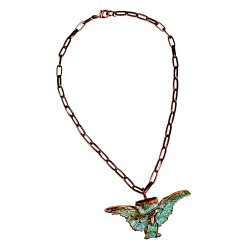 Verdigris Patina Solid Brass Eagle Pendant - Copper Chain