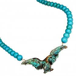 Verdigris Patina Solid Brass Eagle Necklace - Turquoise