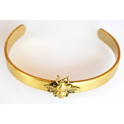 Antique Gold Brass Bee Cuff...