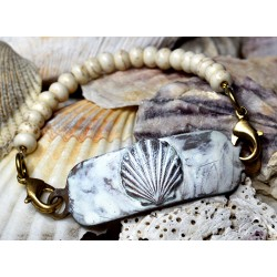 White Patina Brass Scallop...