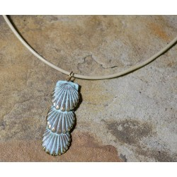 White Patina Brass Overlapping Scallop Shells Pendant