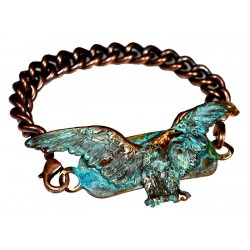 Verdigris Patina Solid Brass Eagle Interchangeable Rockband Bracelet-Copper ID Chain