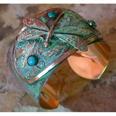 Verdigris Patina Brass Dragonfly Victorian Floral Motif Cuff - Turquoise