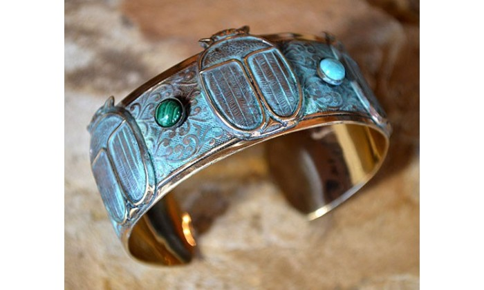 Cuff Bracelets with Semi-Precious Stones by Elaine Coyne Galleries