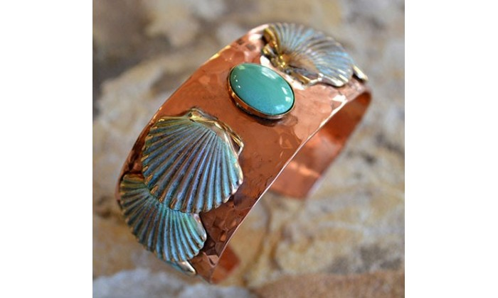 Handforged Copper and Patina Brass Nautical Jewelry by Elaine Coyne