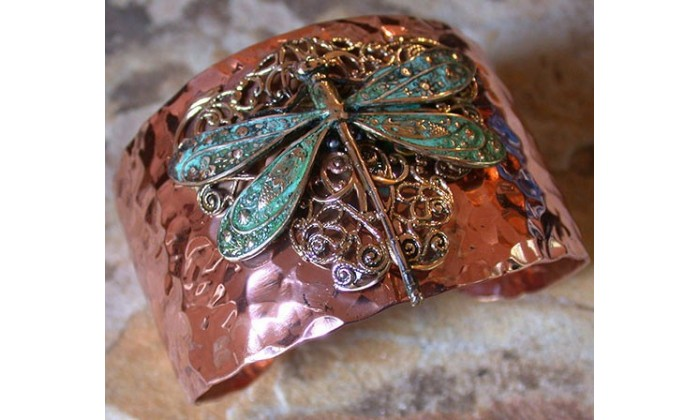 Handforged Copper and Patina Brass Dragonfly Wearable Art Jewelry