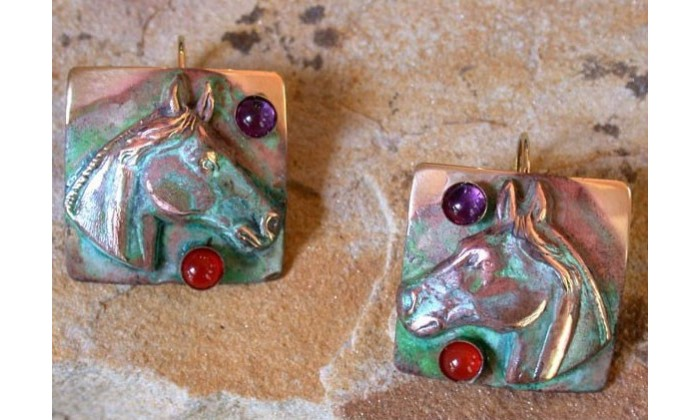 Equestrian Earrings by Elaine Coyne Galleries