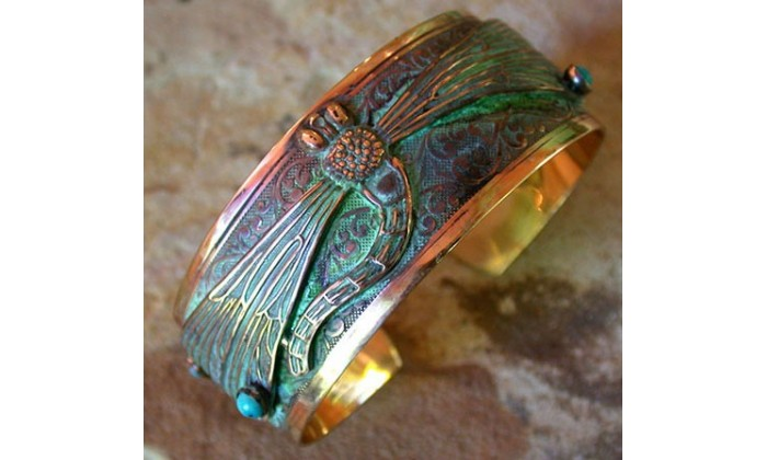 Dragonfly and Butterfly Wearable Art Cuff Bracelets by Elaine Coyne Ga