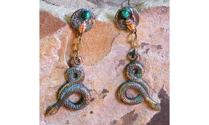 Ancient Egyptian Motif Wearable Art Earrings designed by Elaine Coyne