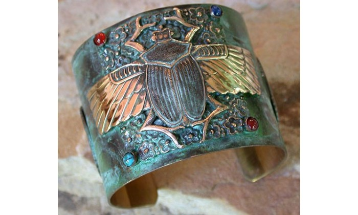 Ancient Egyptian Motif Wearable Art Cuff Bracelets designed by Elaine